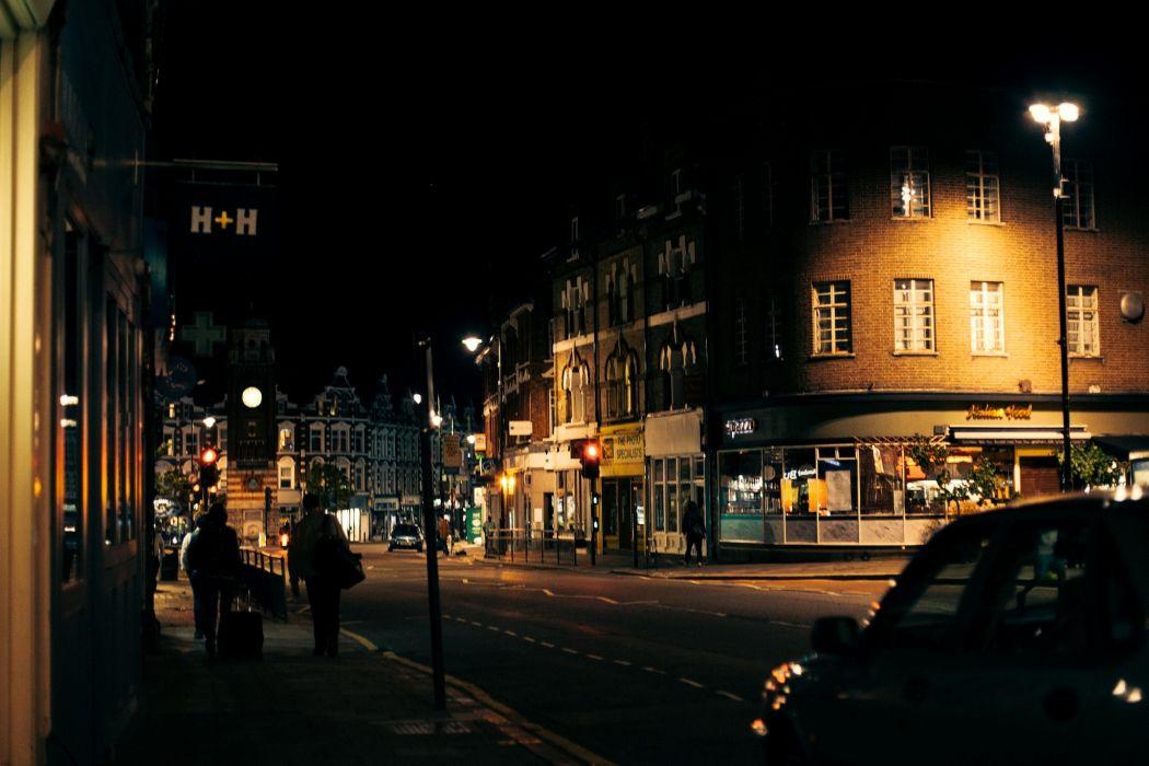 London England United Kingdom city night street road people cars lights wallpaper