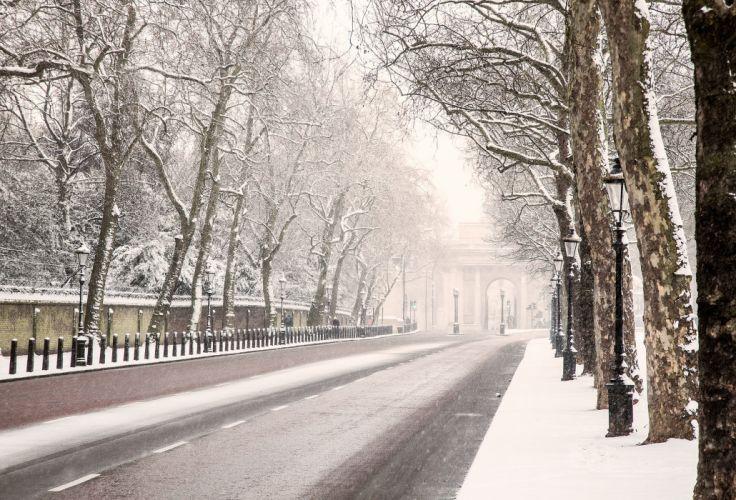 London England road winter snow trees lights wallpaper