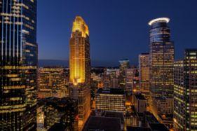 Minneapolis Minnesota Night Skyscrapers Buildings Houses Lights Lighting Blue Sky Wallpaper