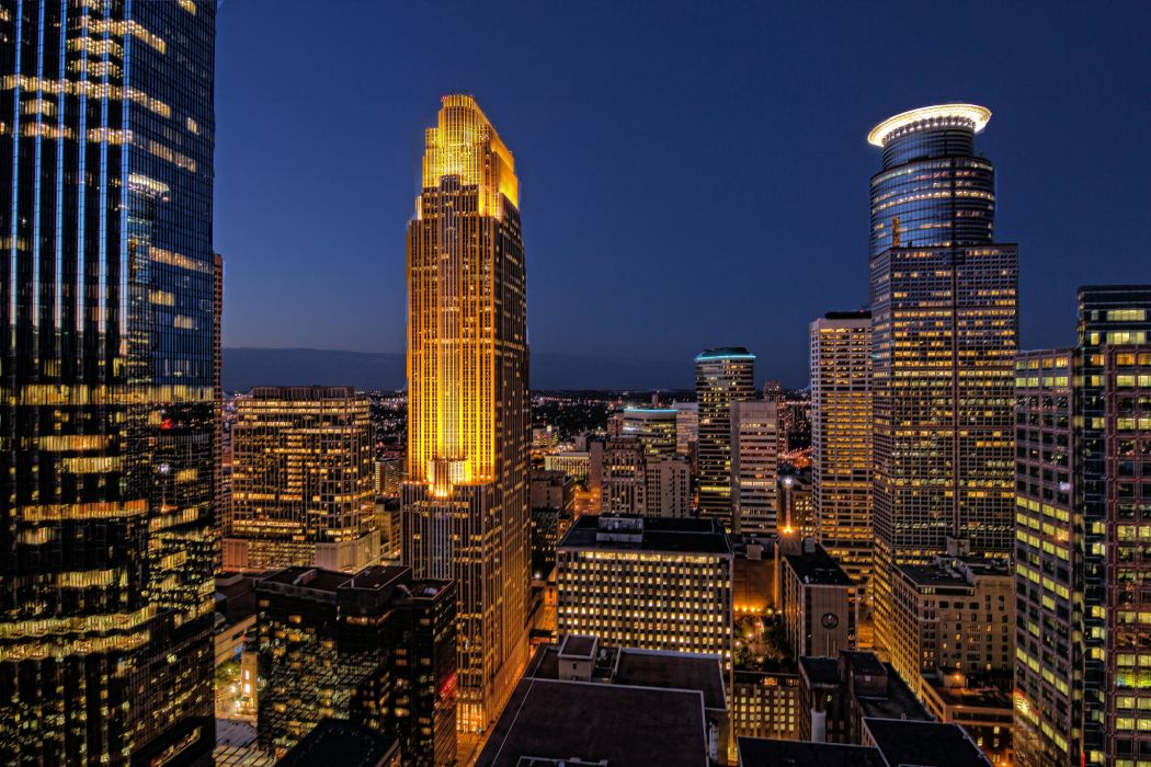 Minneapolis Minnesota night skyscrapers buildings houses lights lighting lights blue sky wallpaper