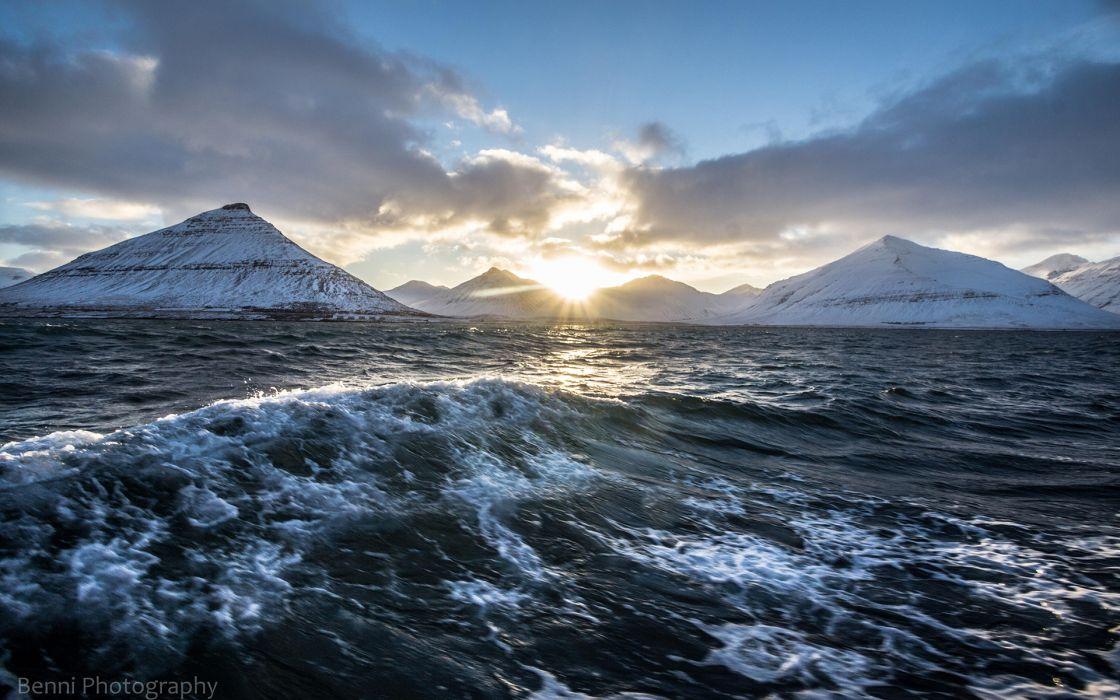 Ocean Mountains Landscape Sunlight wallpaper