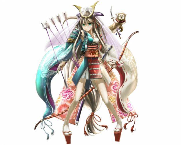 original animal aqua eyes armor bow (weapon) brown hair headdress japanese clothes katana kouji oota long hair original samurai socks sword weapon white wallpaper