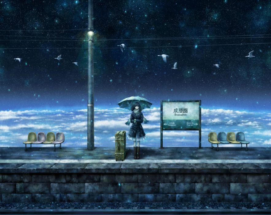 original animal bird clouds kazami ehoh original scarf scenic sky stars umbrella wallpaper