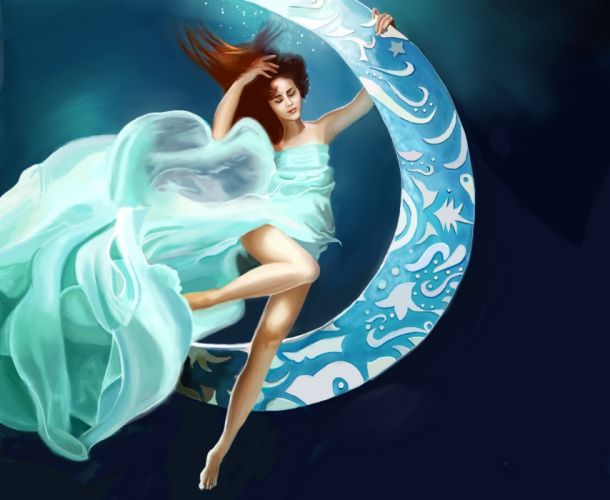 Painting Art Girls mood moon psychedelic f wallpaper