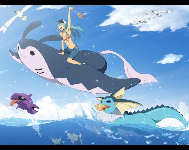 pokemon aqua hair bikini blue hair bra clouds hat mantine pokemon remoraid shellder swimsuit underwear vaporeon water wingull wallpaper