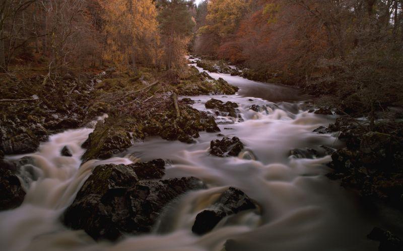 River Timelapse Trees Rocks Stones autumn wallpaper
