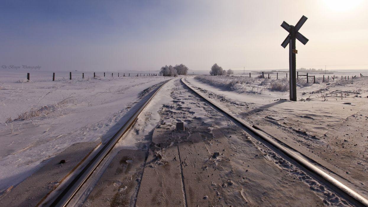 snow railroad rails train bokeh wallpaper