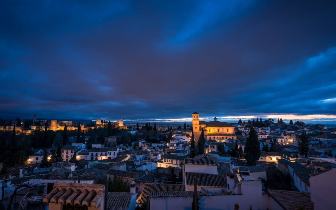 Spain Granada Province architecture lighting lights night blue sky clouds wallpaper