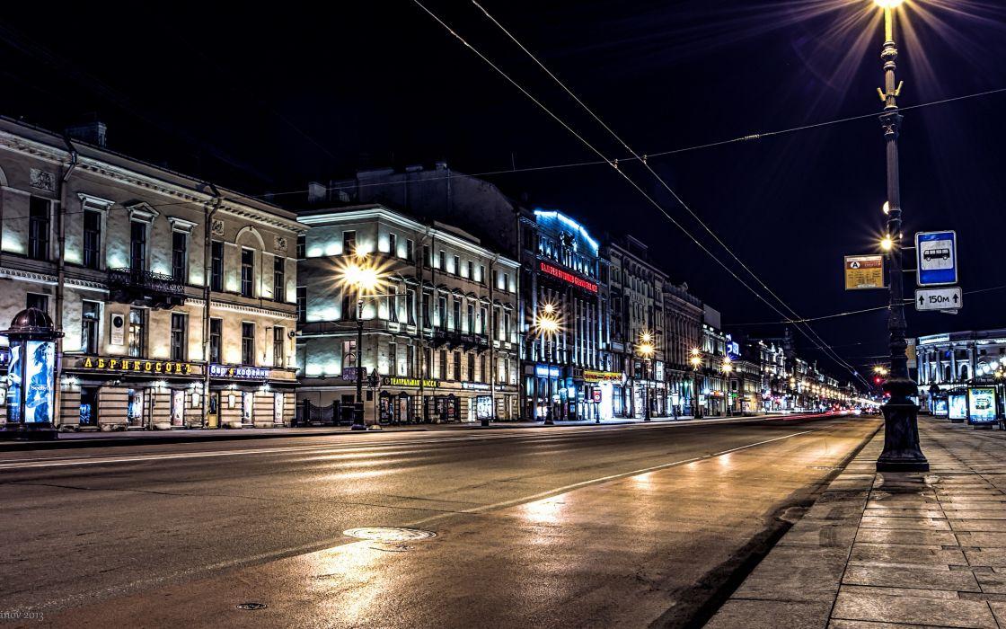 St_ Petersburg Russia night lights lights road Nevsky Prospect wallpaper