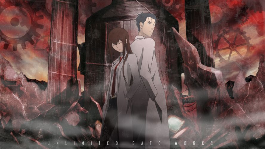 steins gate black hair brown eyes brown hair makise kurisu okabe rintarou pantyhose shorts steins;gate tie wallpaper