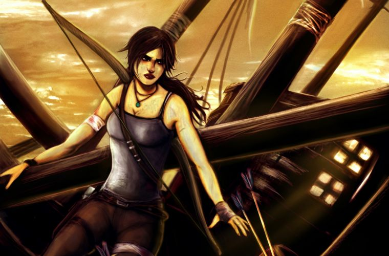 Tomb Raider Archer Warrior Lara Croft Singlet Games Girls fantasy f wallpaper