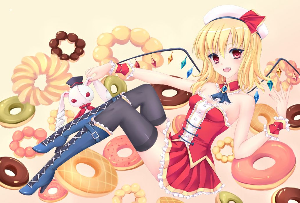 touhou blonde hair boots bunny fd92 flandre scarlet food hat red eyes thighhighs touhou wings wallpaper
