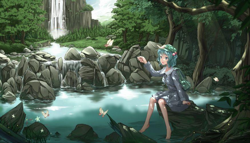 touhou blue eyes blue hair butterfly cloudy_r dress hat kawashiro nitori leaves rainbow short hair touhou tree water waterfall wallpaper