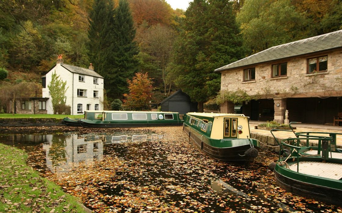 Wharf boats houses trees autumn wallpaper