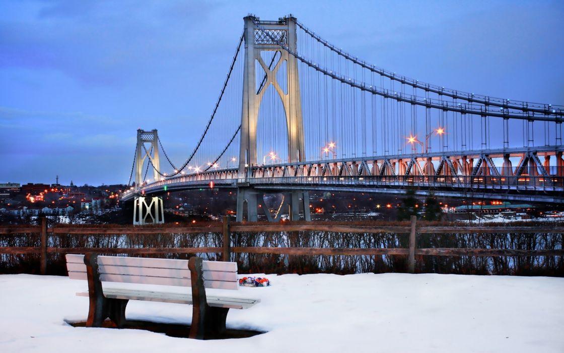 winter bridge city wallpaper