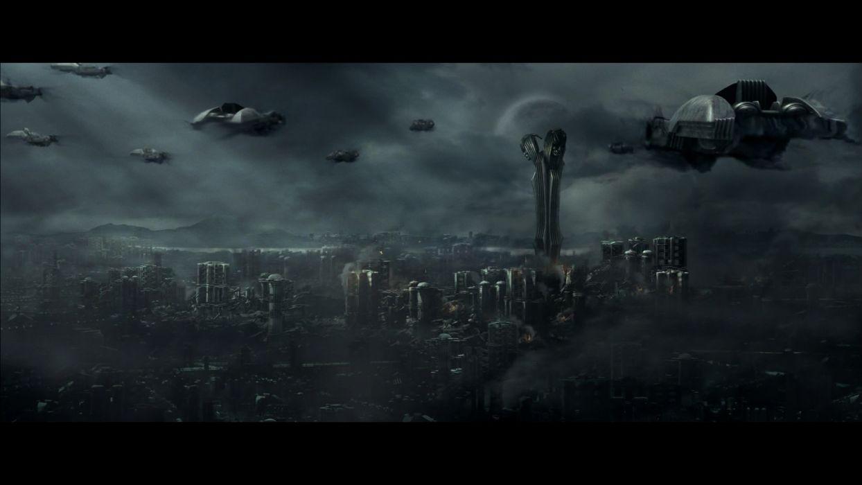 CHRONICLES OF RIDDICK sci-fi apocalyptic spaceship city dark      f wallpaper