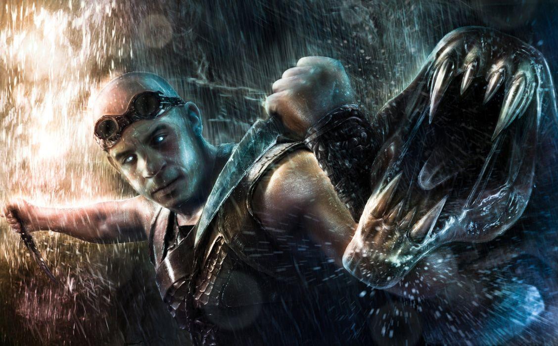 CHRONICLES OF RIDDICK sci-fi fantasy warrior monster battle r wallpaper