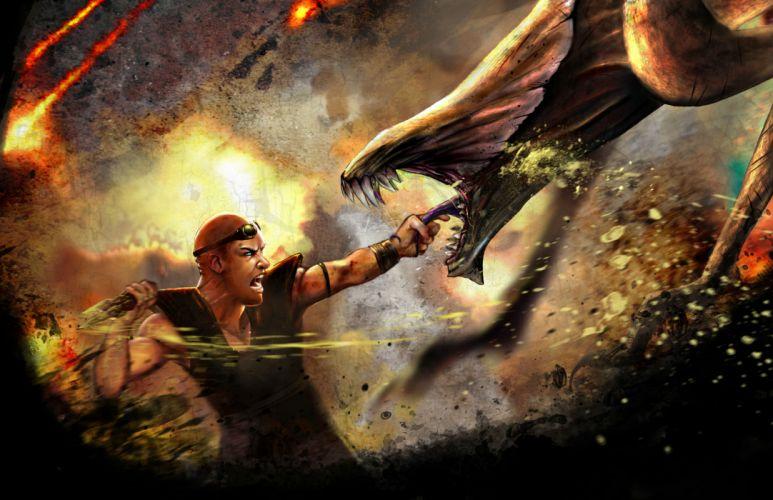 CHRONICLES OF RIDDICK sci-fi fantasy warrior monster battle g wallpaper