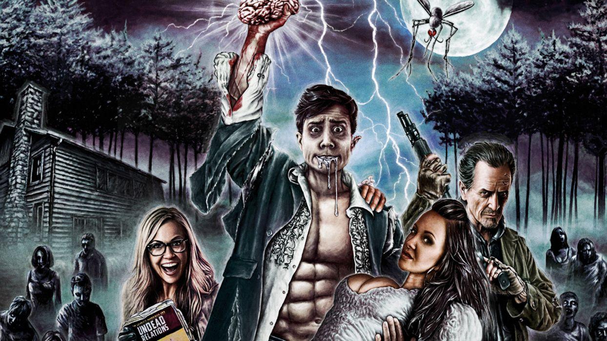 A LITTLE BIT ZOMBIE Comedy Horror dark poster     f wallpaper