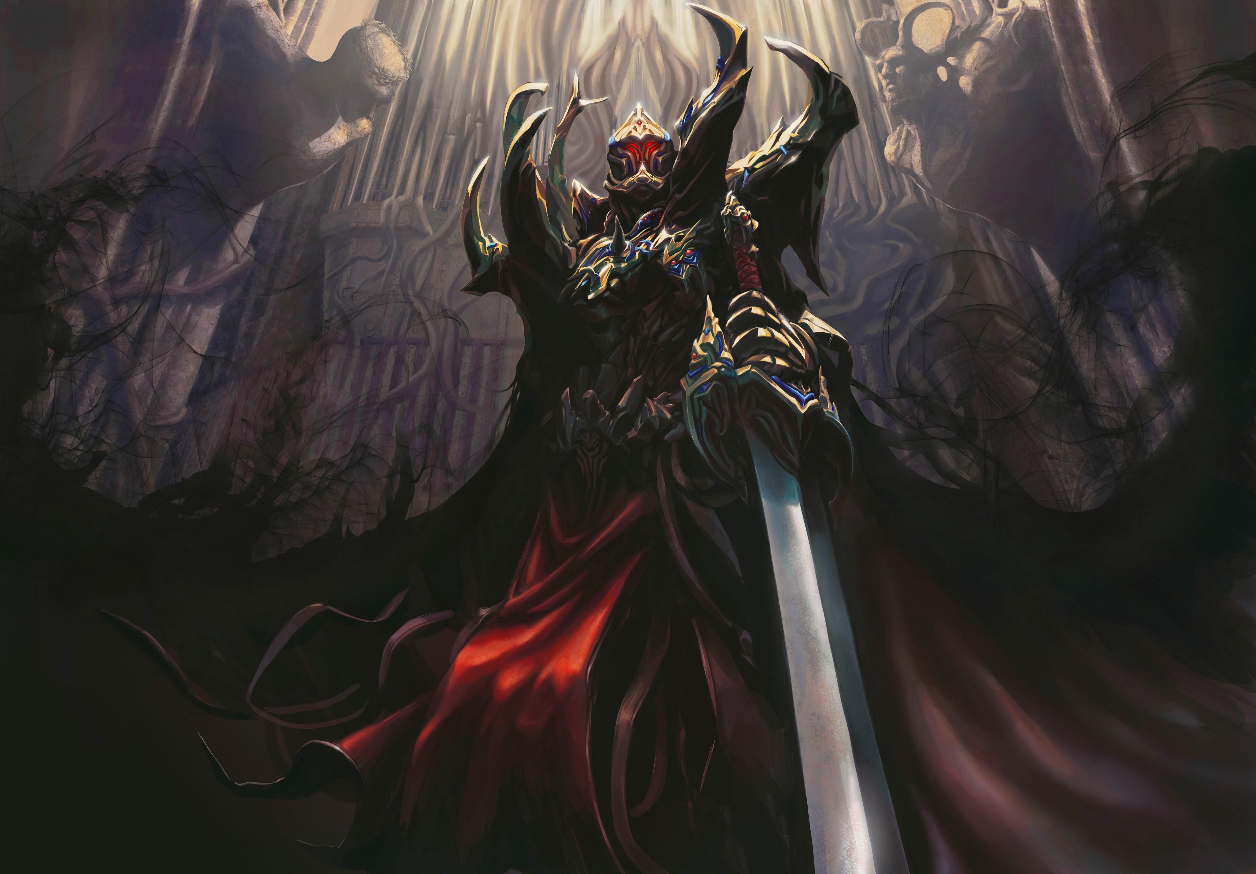 Downaload Overlord King And Warriors Art Wallpaper: Art A Warrior A Demon Sword Armor Dark Castle Dark H