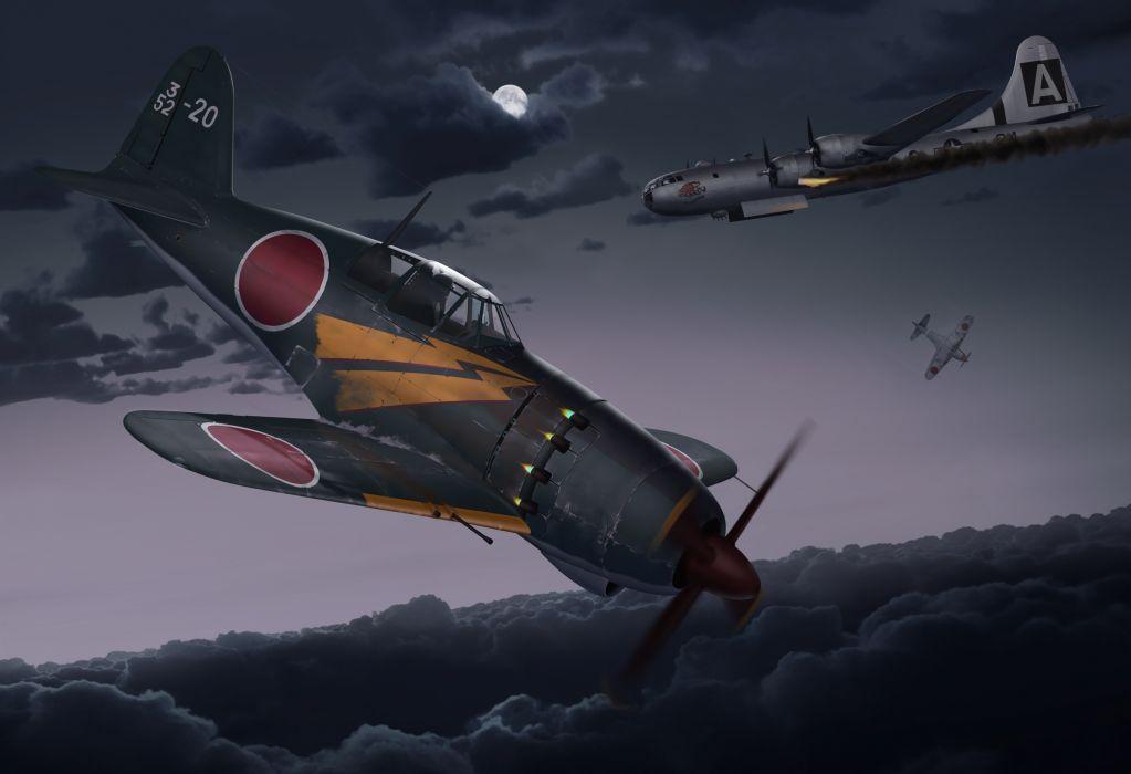 art night planes Kawasaki Ki-100 Japanese fighters padded B-29 military battle    g wallpaper
