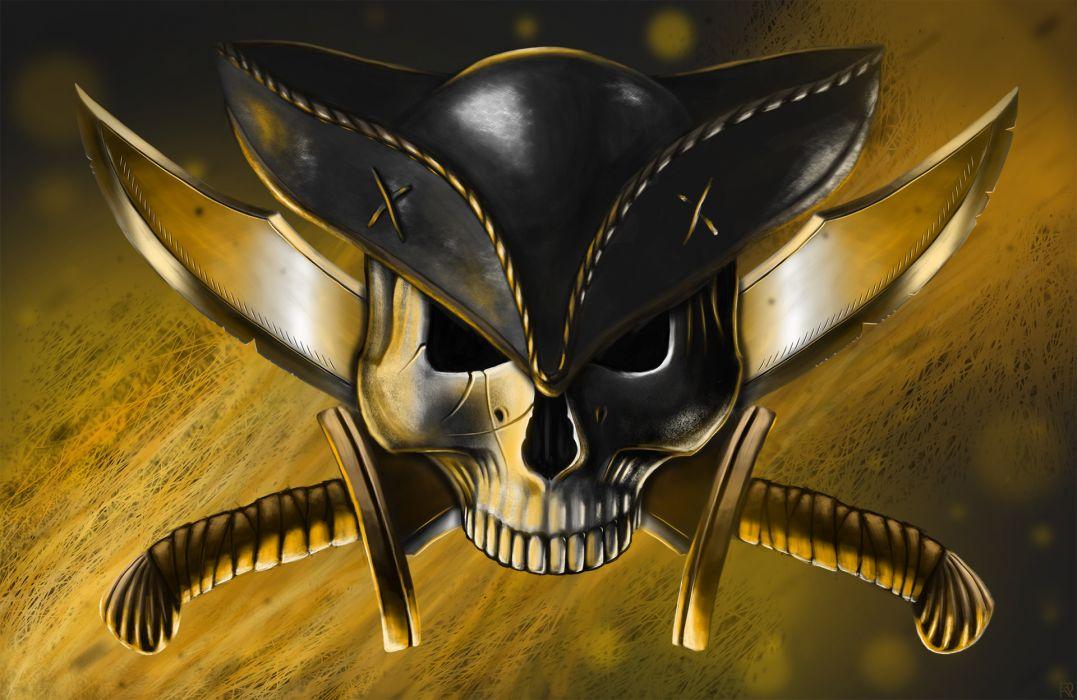 art pirate skull hat guns knives Jolly Roger wallpaper