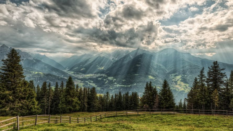 austria Alps Rays of light Clouds Fence Nature wallpaper