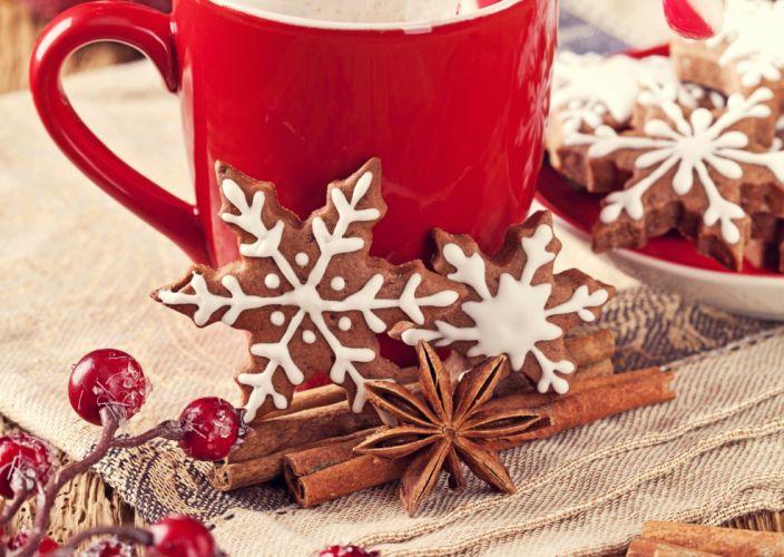 Baking Cookies Cinnamon Mug Snowflakes Food wallpaper