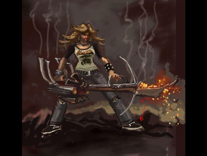 BRUTAL LEGEND game fantasy warrior girl weapon f wallpaper