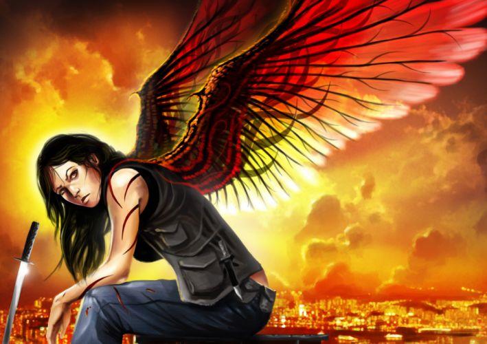 Dante Valentine Angel Wings Drawing Sword wallpaper
