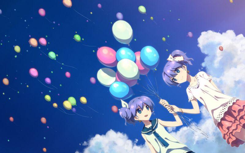 dj max blue eyes blue hair clouds dj max lady made star skirt sky twins yuuki tatsuya wallpaper