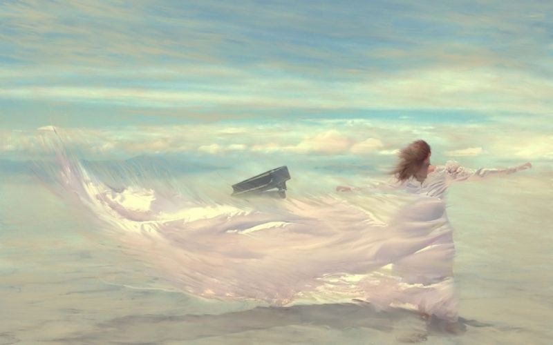 drawing wind woman dress sky piano clouds wallpaper