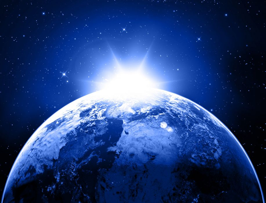 earth planet stars space sunlight    g wallpaper