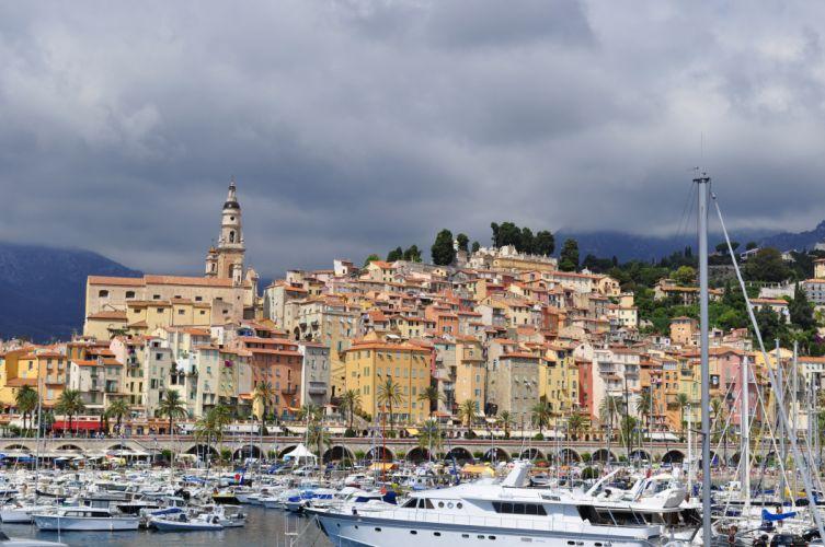France Houses Menton Cities boat marina f wallpaper