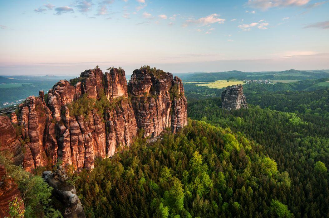 Germany Saxony Crag Nature wallpaper