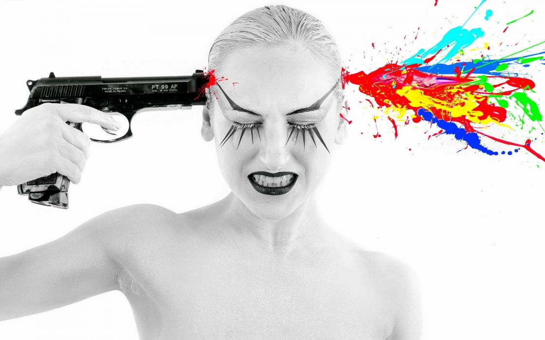 girls and guns girl gun psychedelic weapon gun mood suicide wallpaper
