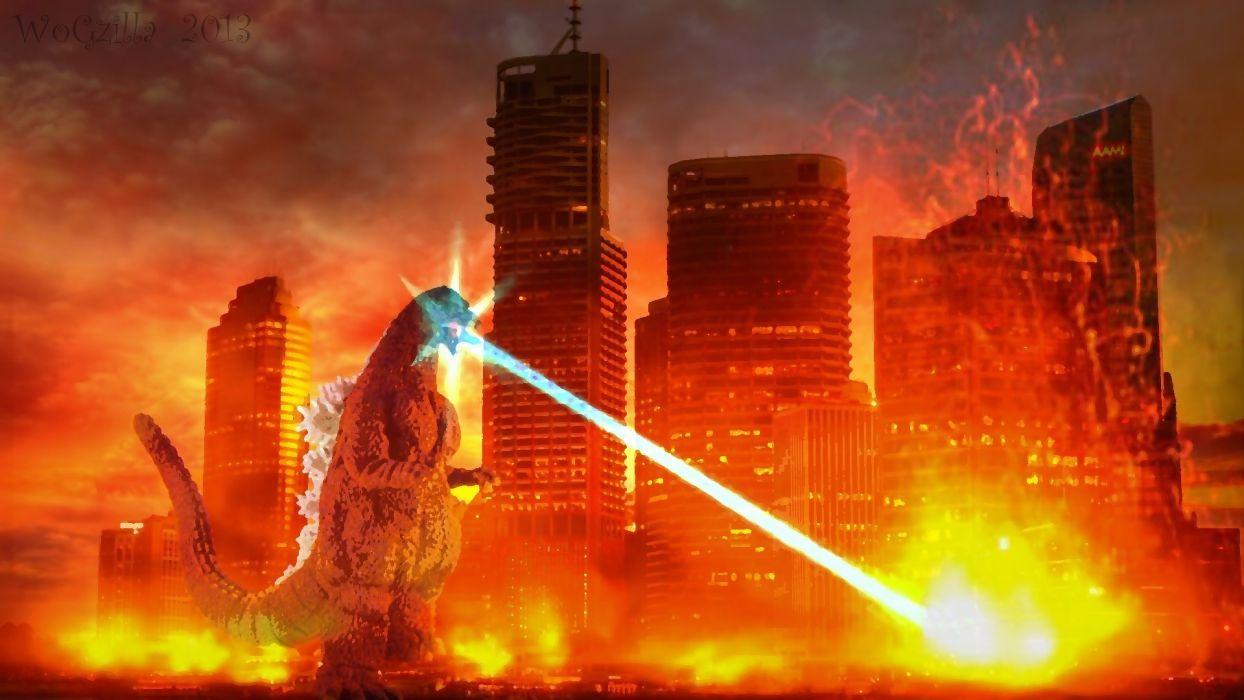 GODZILLA sci-fi fantasy action dinosaur monster battle apocalyptic fire city  ff wallpaper