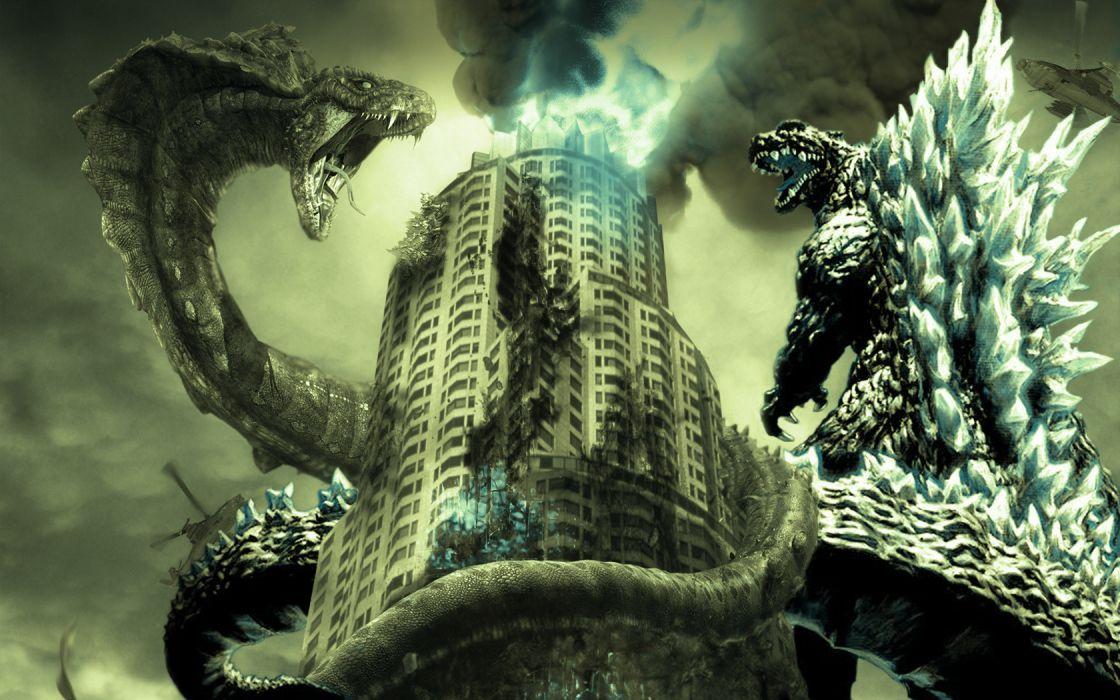 GODZILLA sci-fi fantasy action dinosaur monster battle apocalyptic      f wallpaper