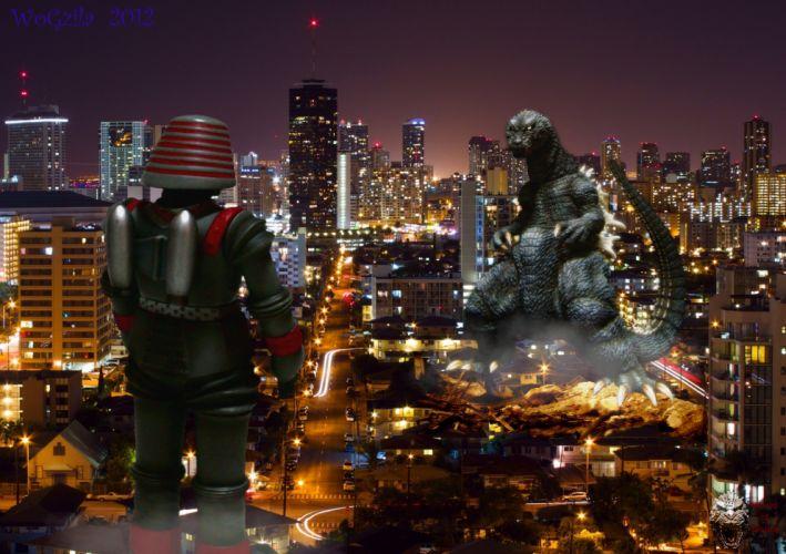 GODZILLA sci-fi fantasy action dinosaur monster battle apocalyptic fire city g wallpaper