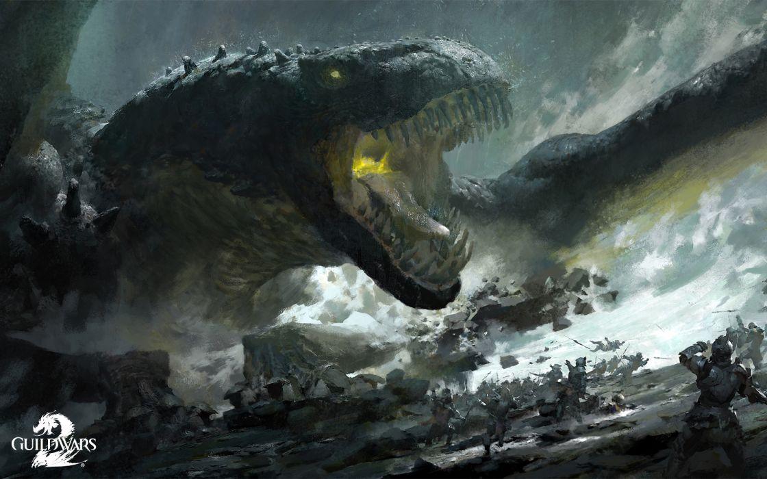 Guild Wars 2 Monster Games battle fantasy warrior dragon wallpaper