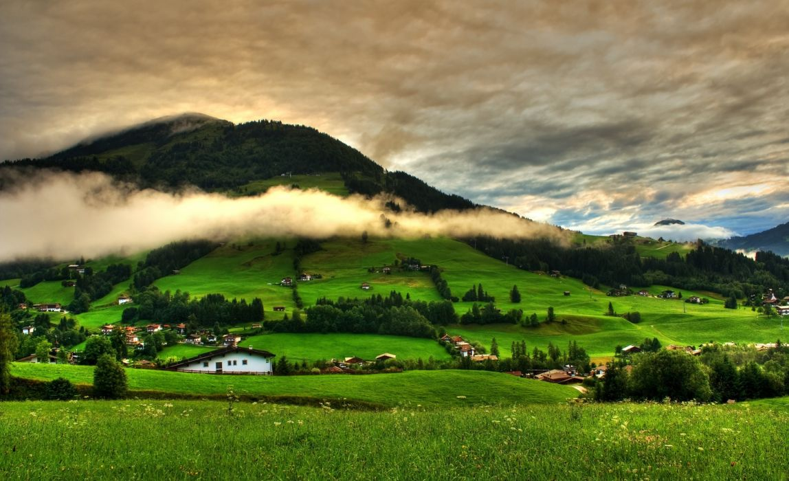 hills trees landscape grass clouds field village mountains greenery home sky wallpaper