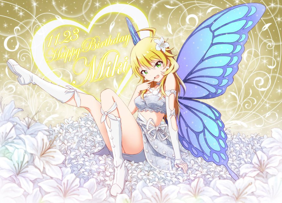 idolmaster blonde hair boots flowers green eyes hoshii miki idolmaster jpeg artifacts outsider 0 wings wallpaper