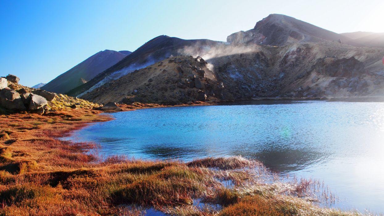 Lake New Zealand Mountains Emerald Nature wallpaper