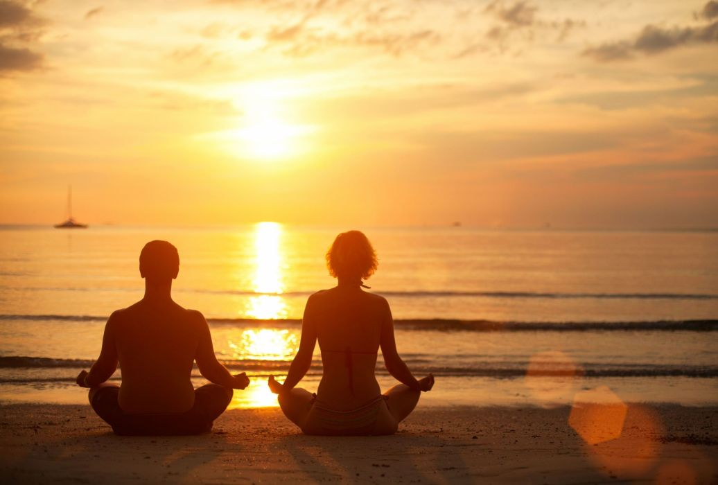 mood girl boy man woman couple silhouette Meditation calm tranquility peace serenity beach sand sea water wave waves sunset wallpaper