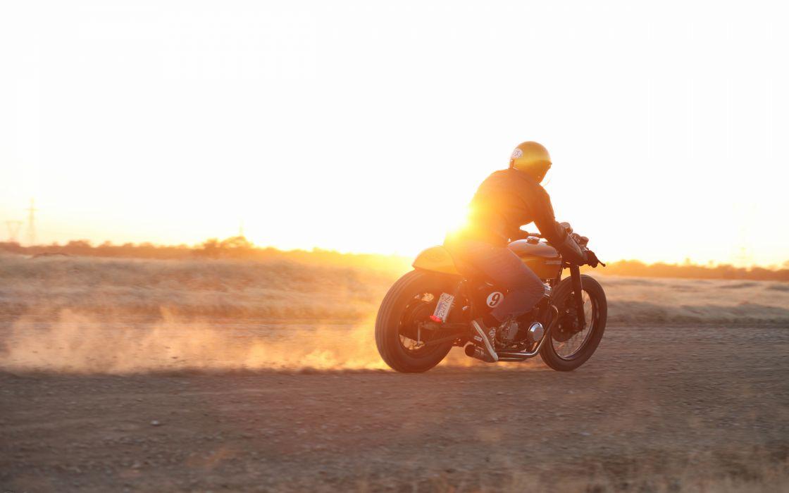 Motorcycle Sunset bike race racing wallpaper