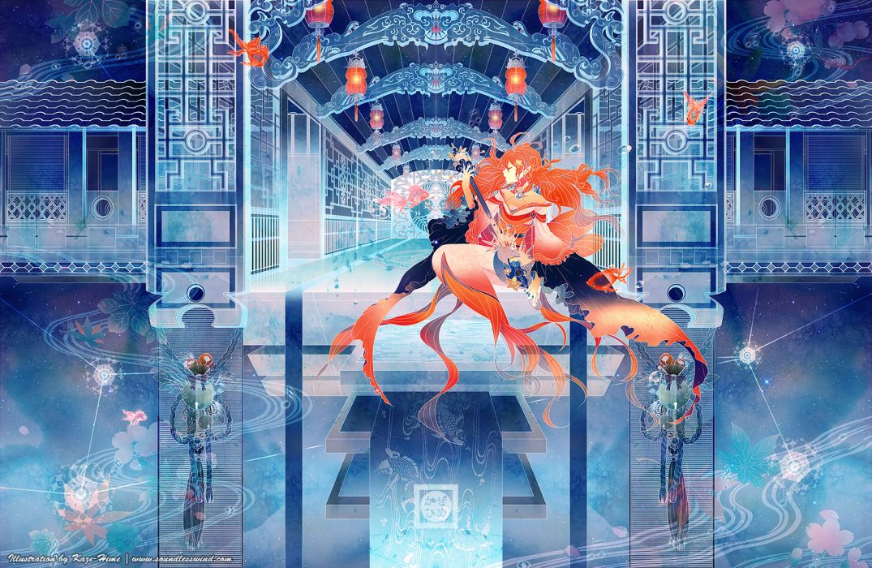 original animal building fairy fish instrument kaze-hime orange hair original stars water wallpaper