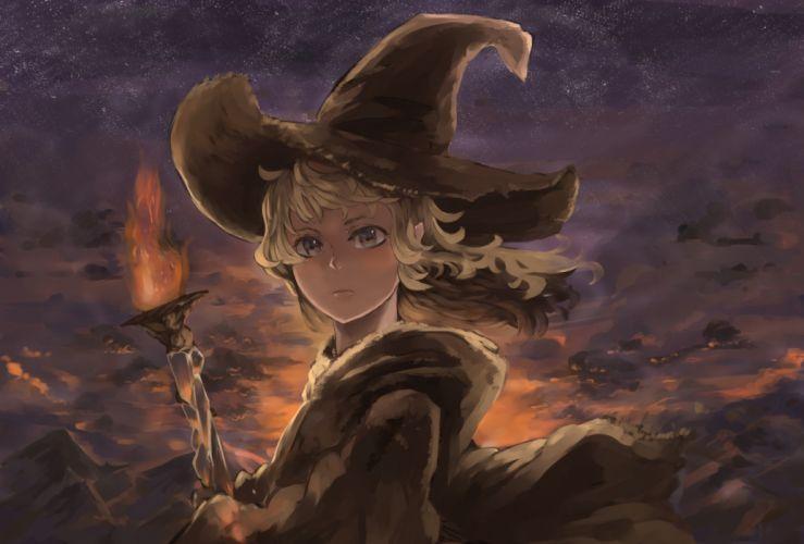 original blonde hair close fire hat kureta (nikogori) original short hair staff witch hat wallpaper