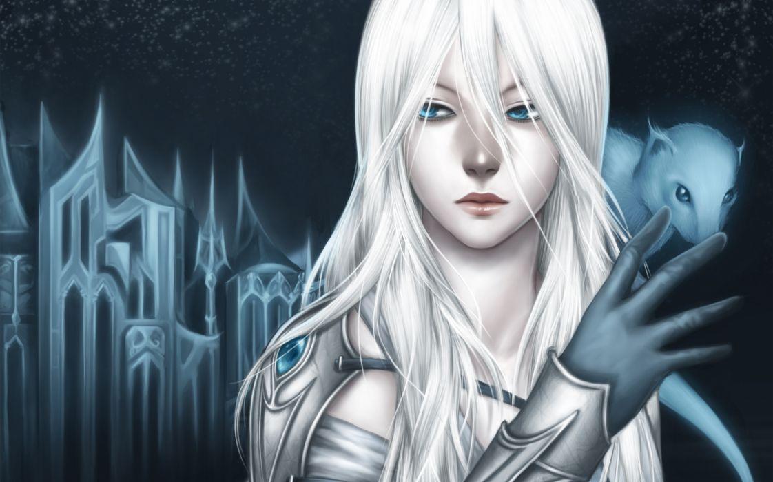 Original blue eyes artwork white hair anime girls gothic ...  Original blue e...