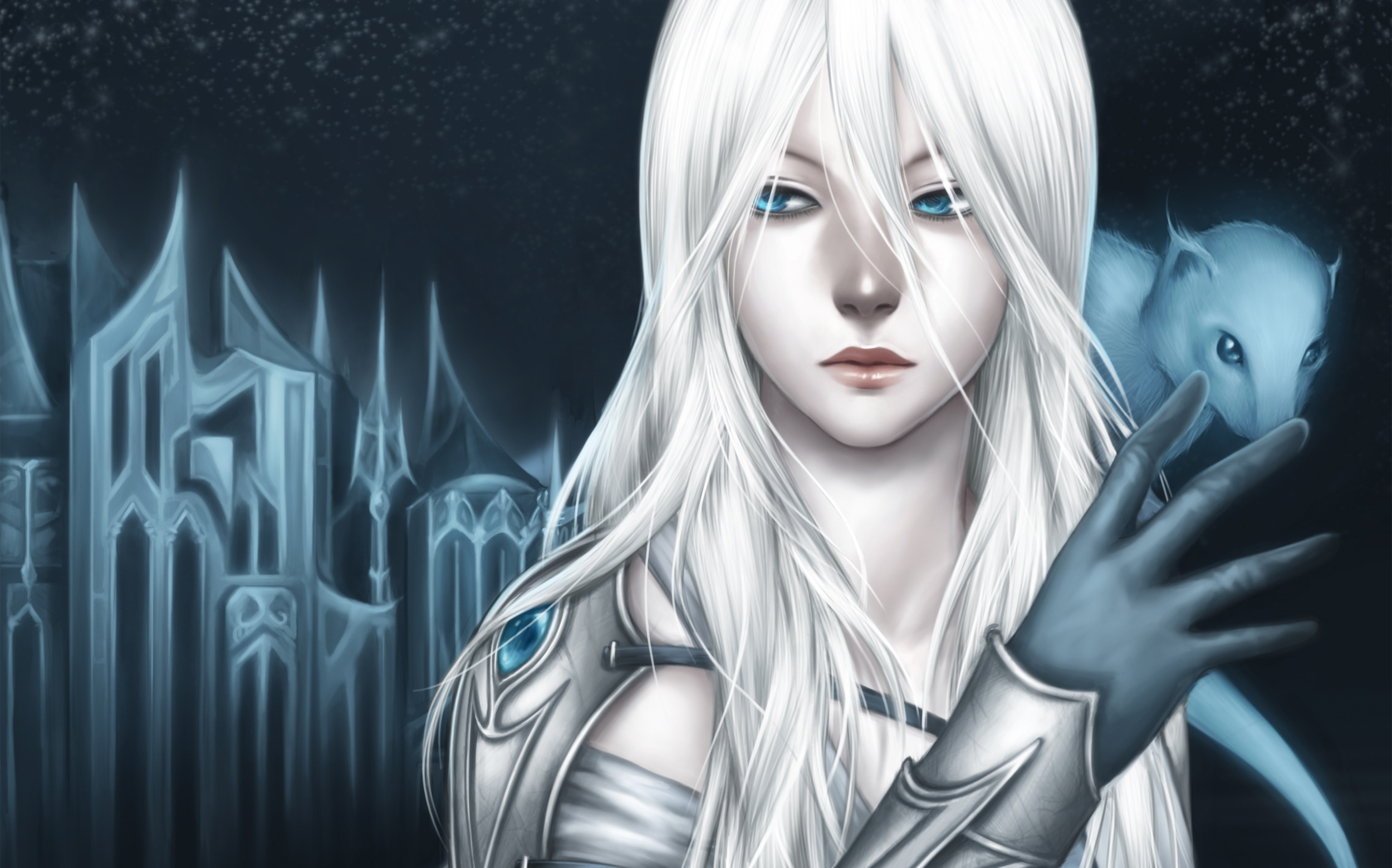 Original Blue Eyes Artwork White Hair Anime Girls Gothic