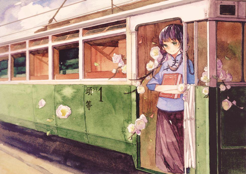original book braids flowers original petals purple hair train twintails xiao zhangyu wallpaper